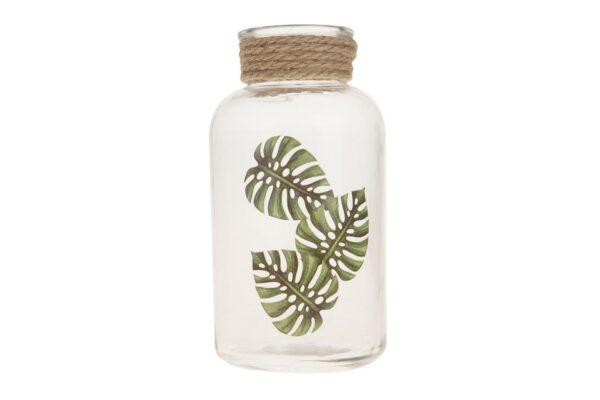 Glazen flesje met bladprint 1