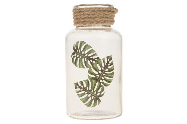 Glazen flesje met bladprint 3