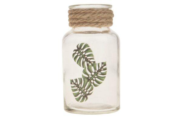 Glazen flesje met bladprint 2