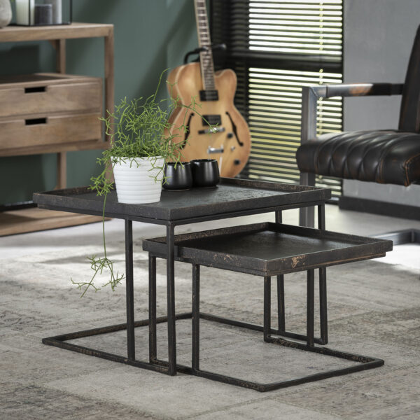 Salontafelset vierkant metallic set/2 1