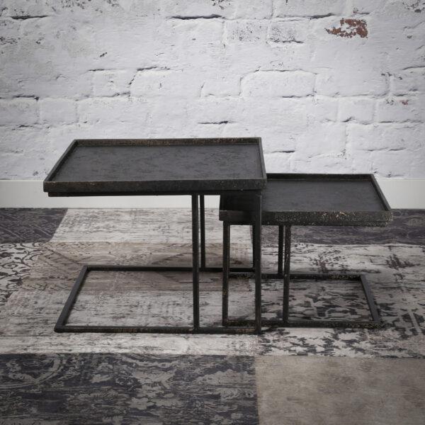 Salontafelset vierkant metallic set/2 2
