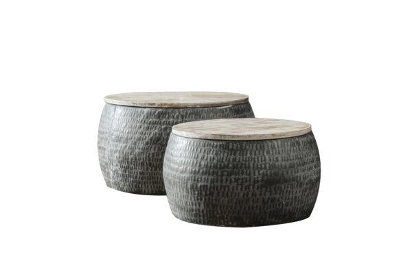 Salontafelset rond 50/60 hout set/2 2