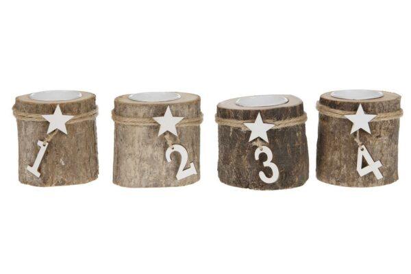 Theelichthouder Adventskrans houten stammetjes 1