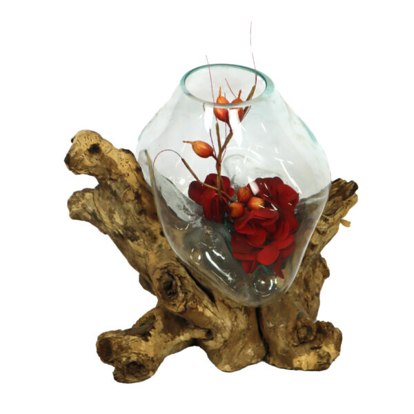 Teak root with glass 1
