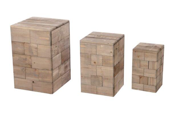 Bijzettafeltjes hout in set van 3 1