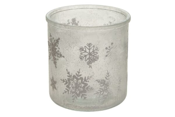 Theelichthouder Kerst frozen glas 2