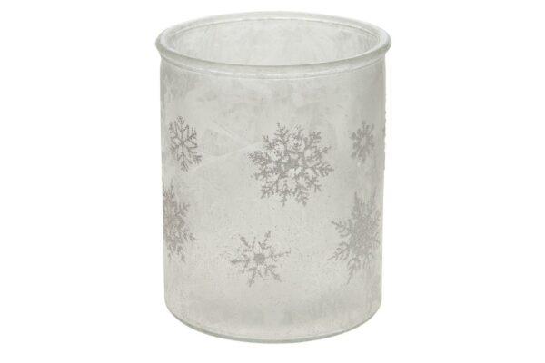 Theelichthouder Kerst frozen glas 1