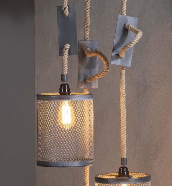 Hanglamp 3x mesh touw getrapt 11
