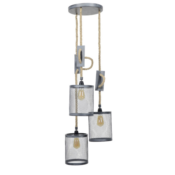 Hanglamp 3x mesh touw getrapt 12
