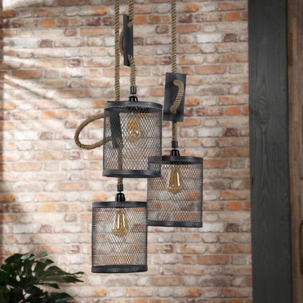 Hanglamp 3x mesh touw getrapt 2