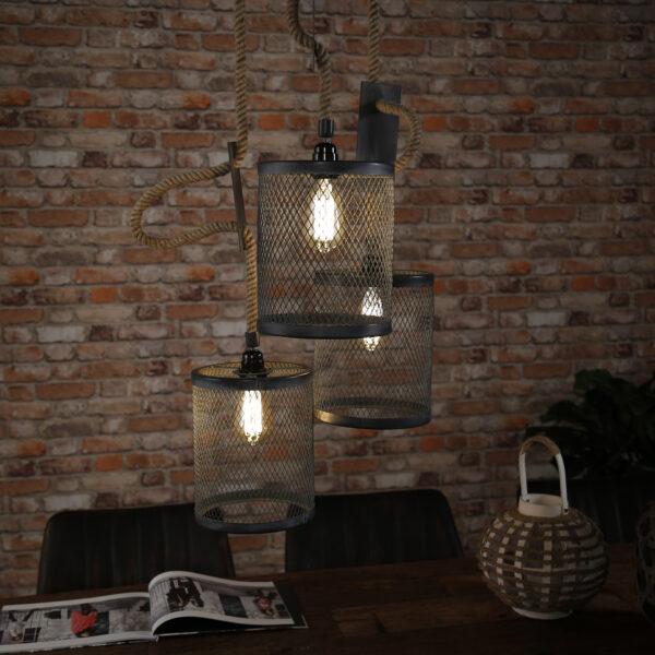 Hanglamp 3x mesh touw getrapt 3
