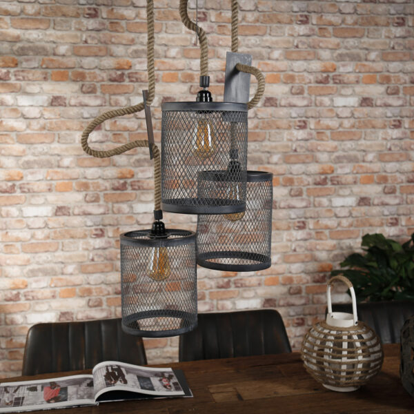 Hanglamp 3x mesh touw getrapt 4