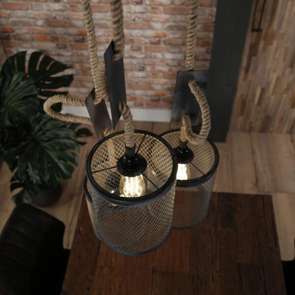 Hanglamp 3x mesh touw getrapt 5
