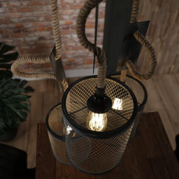 Hanglamp 3x mesh touw getrapt 6
