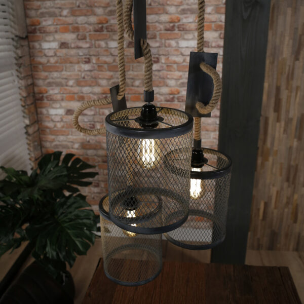 Hanglamp 3x mesh touw getrapt 7