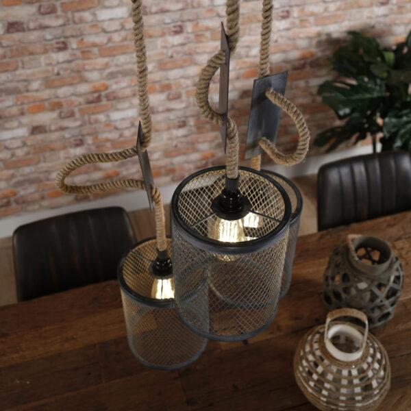 Hanglamp 3x mesh touw getrapt 8