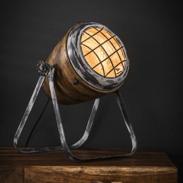 Tafellamp iron houten kap 1