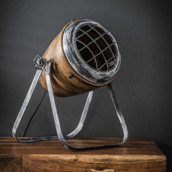 Tafellamp iron houten kap 2