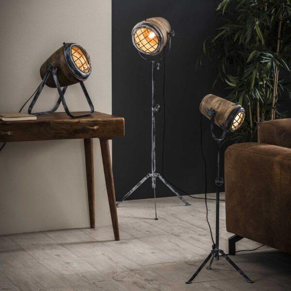 Tafellamp iron houten kap 3