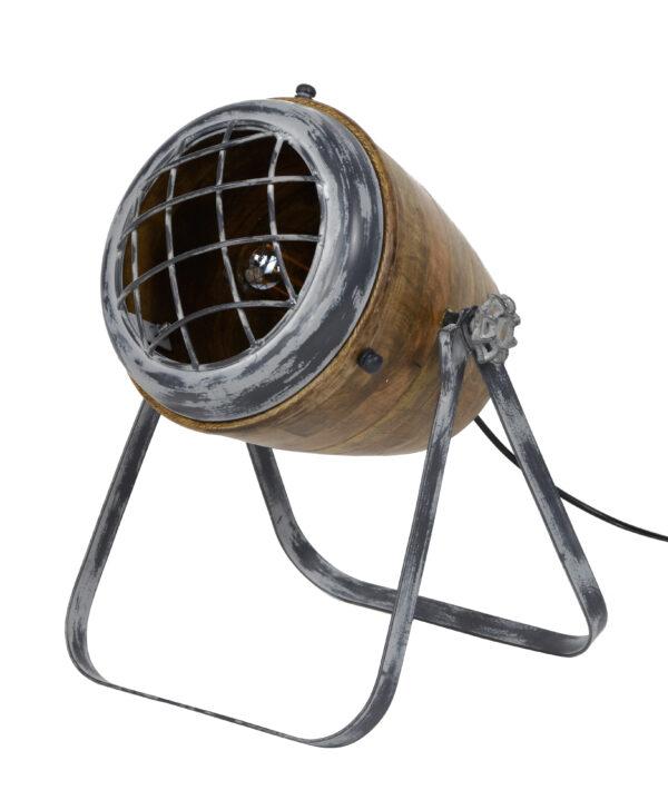 Tafellamp iron houten kap 5