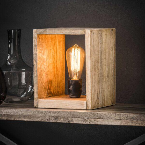 Tafellamp houten vierkant 1