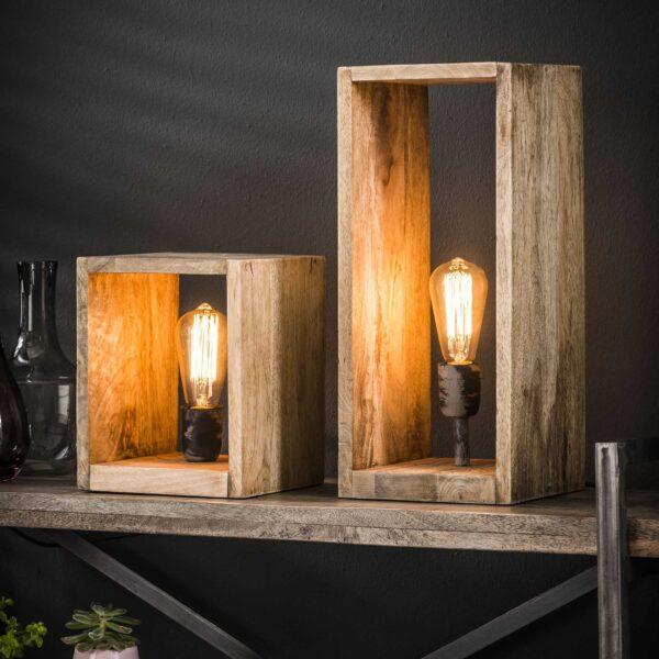 Tafellamp houten vierkant 3
