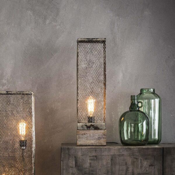 Tafellamp rechthoek mesh houten voetje 1