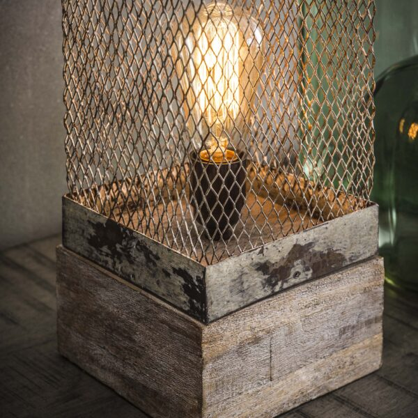 Tafellamp rechthoek mesh houten voetje 3