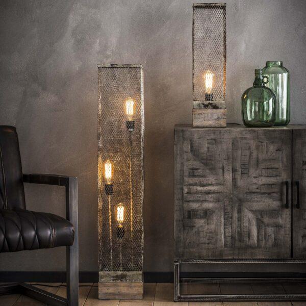 Vloerlamp rechthoek mesh houten voetje 1
