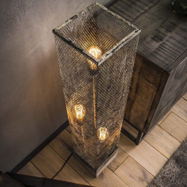 Vloerlamp rechthoek mesh houten voetje 3