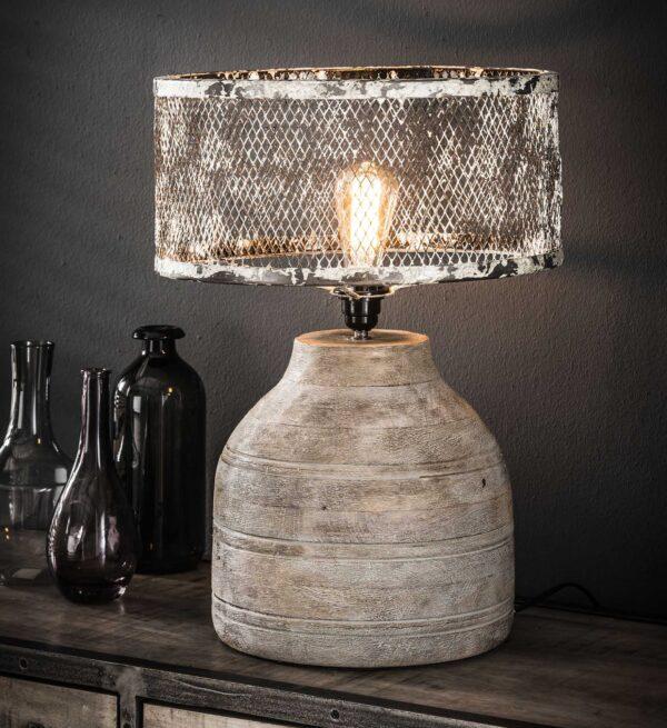 Tafellamp massief houten hoge bolle voet 1