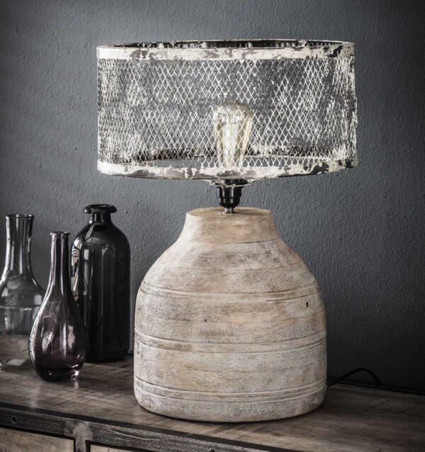 Tafellamp massief houten hoge bolle voet 2