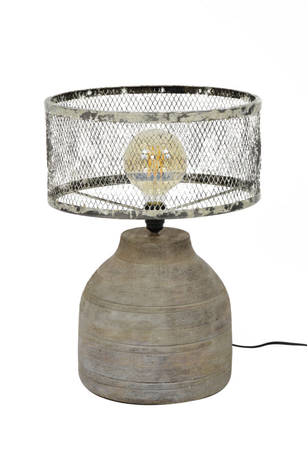 Tafellamp massief houten hoge bolle voet 3