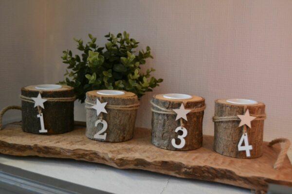 Theelichthouder Advent 1-4 hout naturel - 8x8x8cm 4st. 1